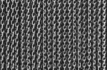 Distressed overlay texture of rusted peeled metal chain. grunge background.