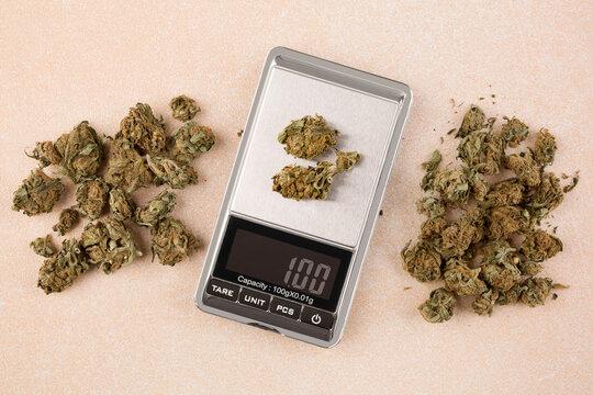 Cannabis buds on digital scale.