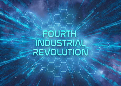 """A futuristic """"Fourth Industrial Revolution"""" typographical illustration that symbolizes the rapid progression in technology"""