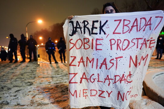 Protest against the verdict restricting abortion rights, in Warsaw