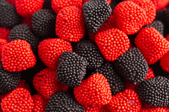 Background of Raspberry and Blackberry Gummy Candies