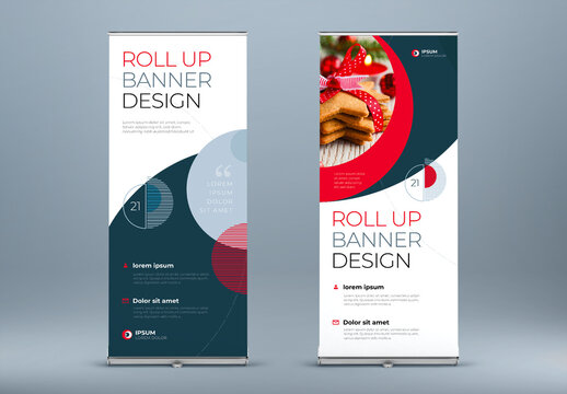 Business  Roll Up Banner Layout with Red Circle Elements