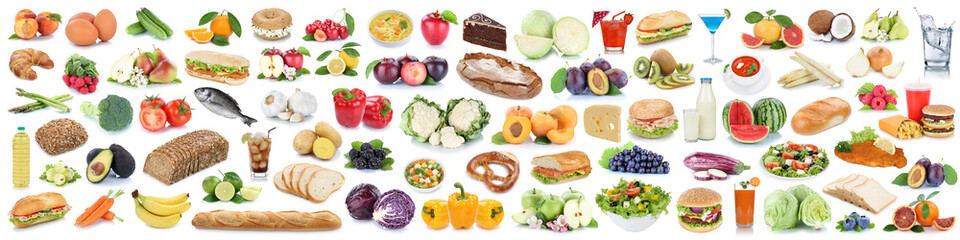 Food and drink collection background collage healthy eating fruits vegetables banner fruit drinks isolated