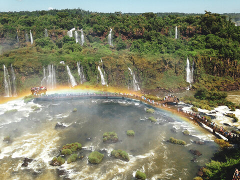 waterfall in rainbow at Iguazu Falls