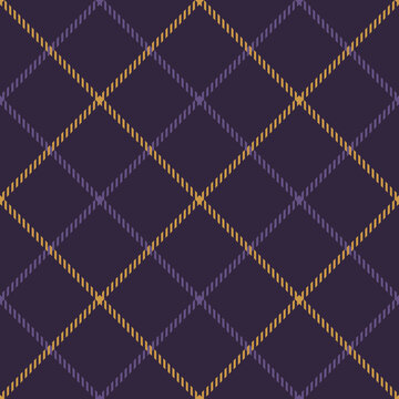 Tattersall plaid pattern in purple and yellow gold. Dark textured windowpane tartan graphic for jacket, skirt, dress, blanket, or other modern spring autumn winter fashion textile print.