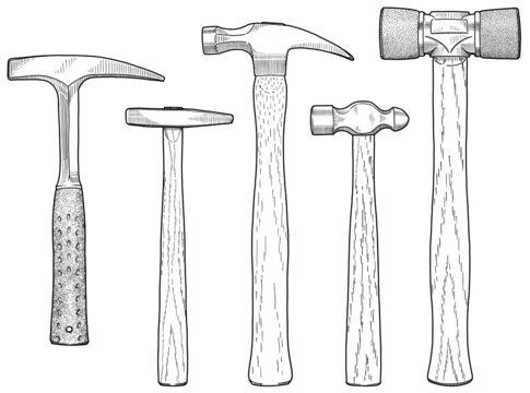 Blackline hand drawing of an assortment of hammers.