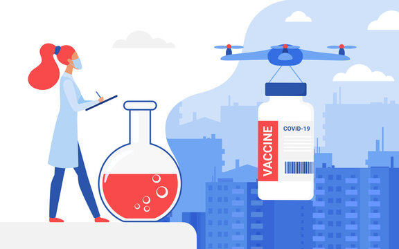 Vaccine delivery concept vector illustration. Cartoon doctor character controls drone transport postal service to deliver vaccine bottle during vaccination, modern transportation technology background