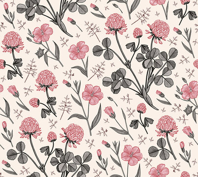 Seamless pattern. Linum Flax Clover wildflowers. Ireland. Beautiful fabric blooming realistic isolated flowers. Vintage background. Wallpaper baroque. Drawing engraving. Vector victorian illustration.