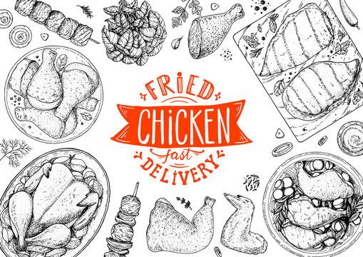 Chicken meat. Fried chicken. Hand drawn sketch illustration. Grilled chicken meat top view frame. Vector illustration. Engraved design. Restaurant menu design template.