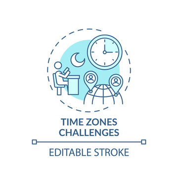 Time zones challenges concept icon. Online english teaching challenges. Get on with new place of study idea thin line illustration. Vector isolated outline RGB color drawing. Editable stroke