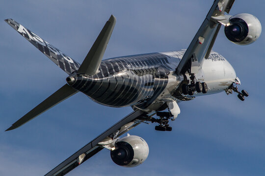 Airbus A350 long haul plane departing to a flight