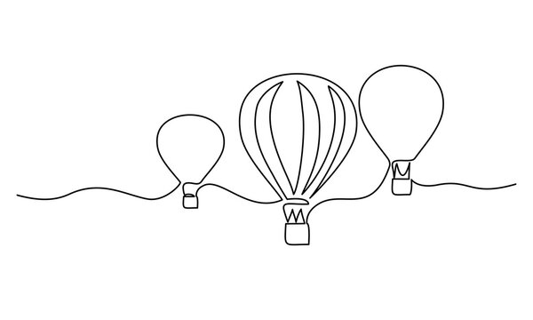 Hot air balloons flying in sky sign. Continuous one line drawing
