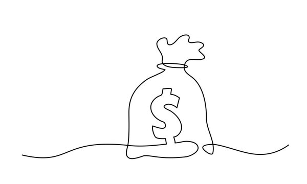Big Money bag. Continuous One line drawing