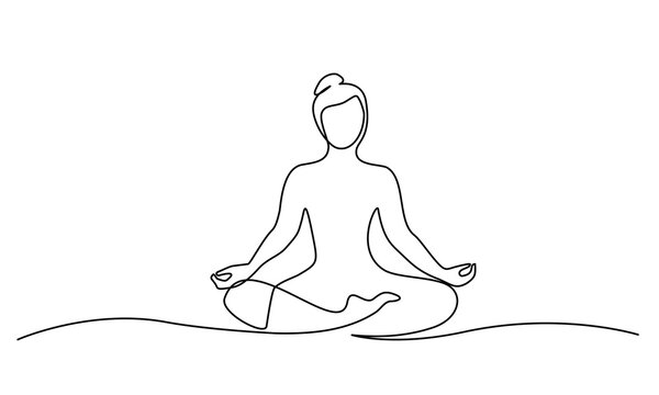 Woman sitting in lotus pose yoga. Continuous one line drawing.