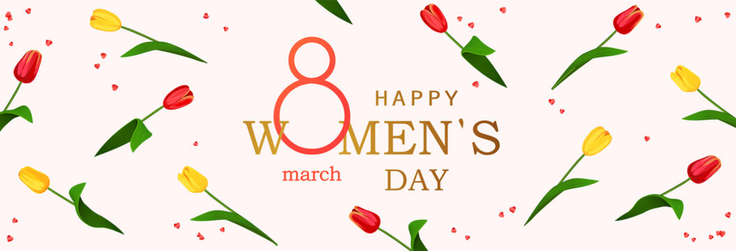 8 march. Happy Women's Day horizontal banner for the website with background of spring flowers tulips. Postcard on March 8. Vector illustration