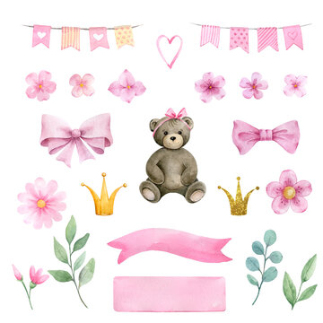 Newborn Baby girl shower clipart elements.Watercolor set of illustrations with teddy bear,flowers,clouds,stars for baby girl shower isolated on white background.