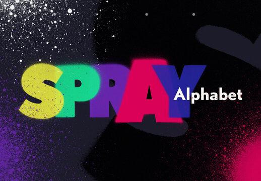 Spray Paint Letter Alphabet Set