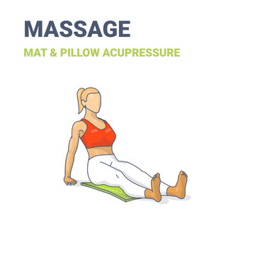 Female Siting on an acupressure mat. Concept of a woman relaxing at home on a massage mat pracicing yoga.