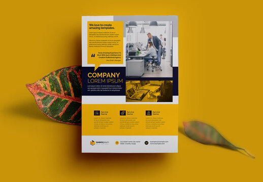 Corporate Flyer with Yellow Accents