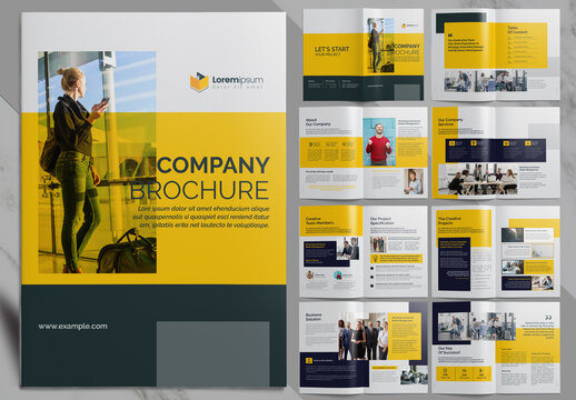 Corporate Brochure with Yellow Accents