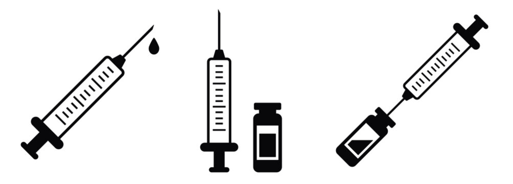Syringe vaccination injection vector icons