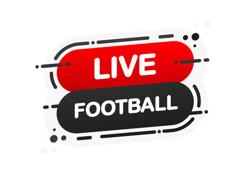 Live Football isolated red flat banner on white background. Vector illustration.