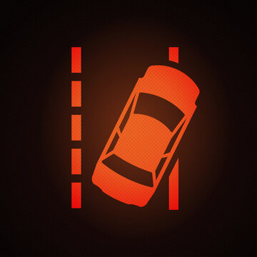 Lane departure warning light sign on car dashboard vector illustration.