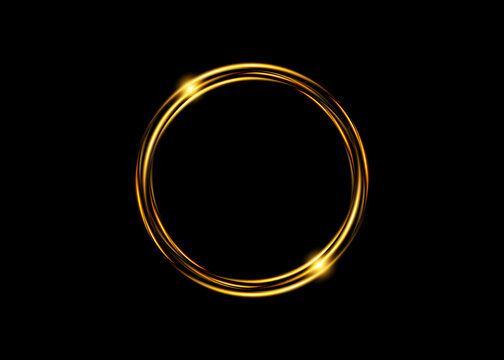 Abstract luxury golden ring. Vector light circles and spark light effect. Gold round logo isolated on black background