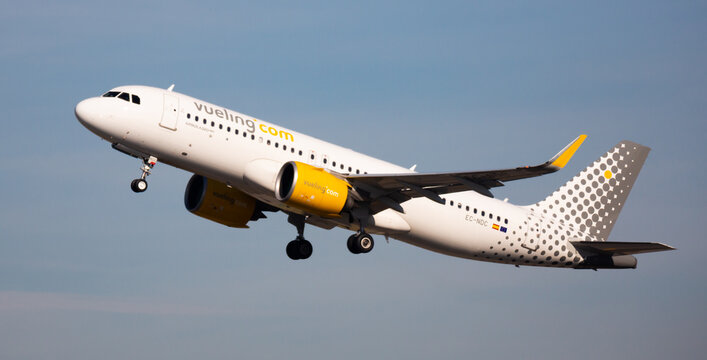 BARCELONA, SPAIN - FEBRUARY 02, 2020: Large passenger airliner of Vueling Airlines with EC-NDC registration number taking off from International El Prat Airport ..