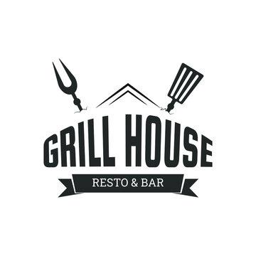 Vintage Grill House logo design for restaurant and bar