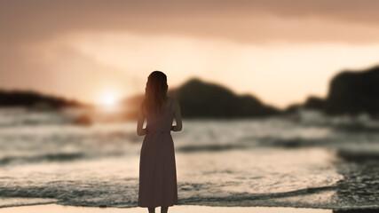 alone girl in the outdoor ocean.