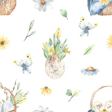 Watercolor seamless pattern with a basket of Easter eggs, spring flowers in a shell, butterfly, flowers, leaves on a white background