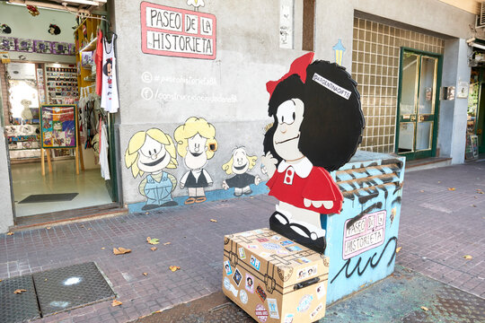 Mafalda and her friends, famous characters by Quino, in San Telmo neighborhood
