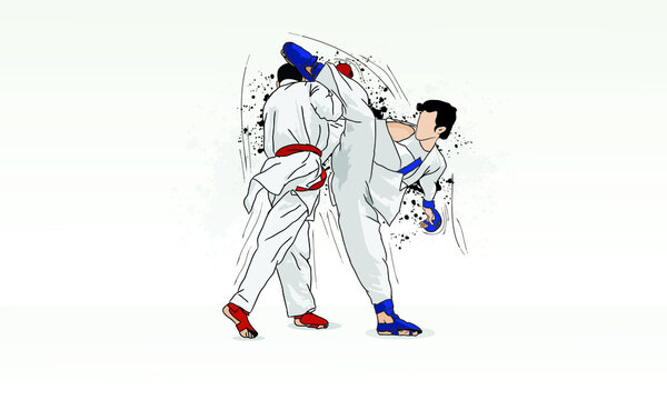 Practice karate, sparring between two martial artists.