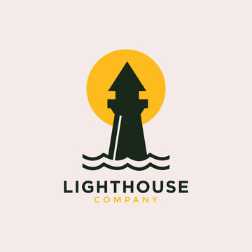Lighthouse with sun or moon logo vector icon line outline Vector