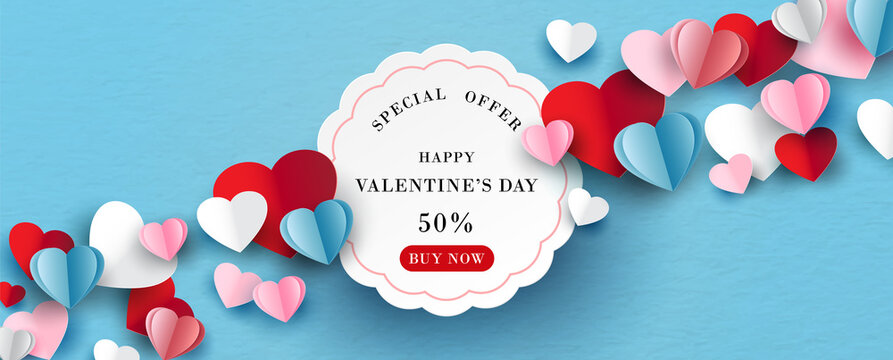 Colorful hearts with white banner and space for texts in paper cut style on blue paper pattern background.