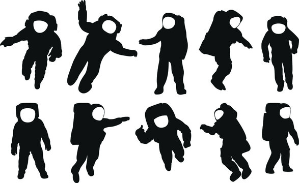 Astronauts silhouettes. Space explorers. Starry sky.