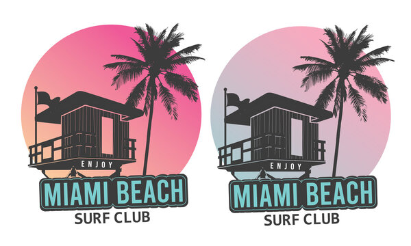 Miami Beach Lifeguard box with palm tree vector design for lifestyle and others