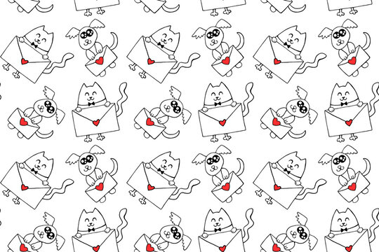 Cute contour little dogs and cats with love letters and hearts. Vector Seamless pattern. Hand drawn doodle. Background and texture on theme of Valentine's Day, sending and receiving post