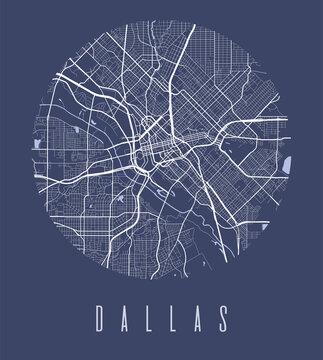 Dallas map poster. Decorative design street map of Dallas city, cityscape aria panorama.