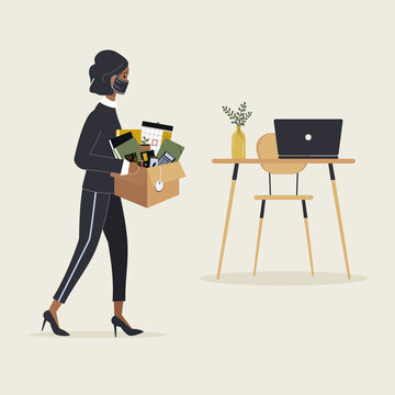 Concept of employee arrival to a new job due to virus pandemic. Young african woman in protective mask come to workplace carrying cardboard box with stationery and belongings.Raster illustration