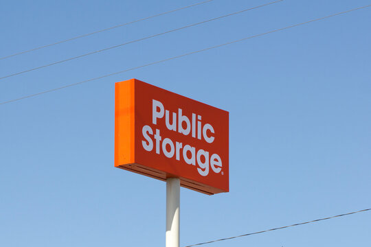 San Carlos, CA, USA - Feb 29, 2020: The Public Storage sign outside a self-storage service location in San Carlos, California. Public Storage is he largest brand of self-storage services in the US.