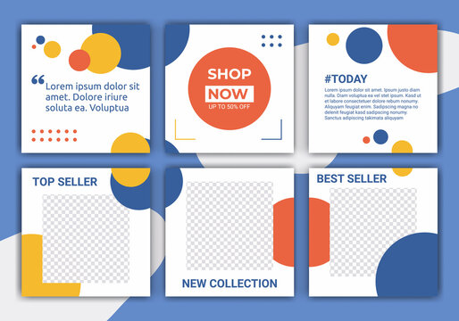 Set of social media post feed template designs. Summer clearance sale. Promotion fashion brand. Abstract pattern with pastel blue, yellow, orange and white. Vector illustration for ig post