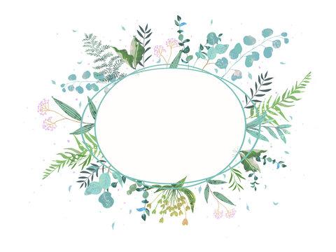 オシャレなお花と葉っぱのかわいい植物フレームのベクターイラスト素材