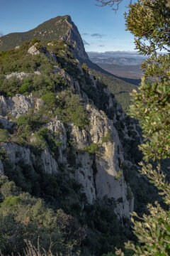 Aerial view of the Pic Saint Loup summit