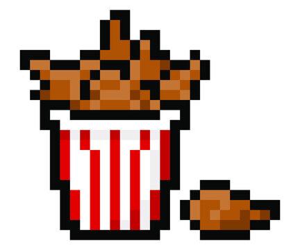 Pixel bucket of fried chicken