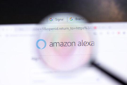 Saint Petersburg, Russia - 28 January 2021: Amazon Alexa website page with logo close-up, Illustrative Editorial.
