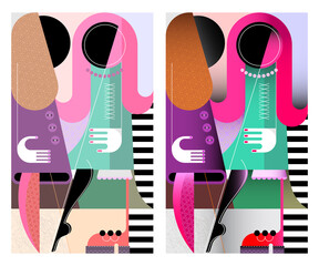Two fashionable women talking with each other. Modern art vector illustration.