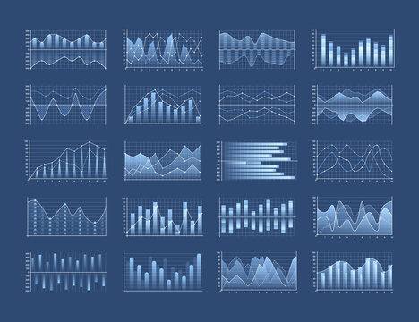 Set of business charts and diagram, infographic template flowchart. Business data market. Infographic icons including clustered column, stacked, bar, line, marked, area.
