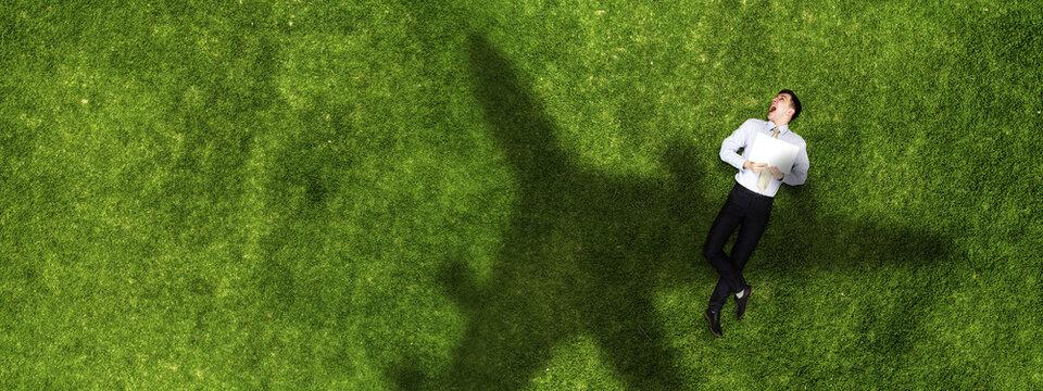 Airplane shadow on green field